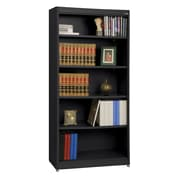 "Sandusky® Elite 36"" x 18"" x 72"" Steel Radius Edge Stationary Bookcase, Black"
