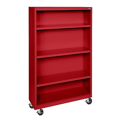 Sandusky® Elite 36in. x 18in. x 58in. Welded Mobile Bookcase, Red