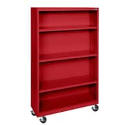 "Sandusky® Elite 36"" x 18"" x 58"" Welded Mobile Bookcase, Red"