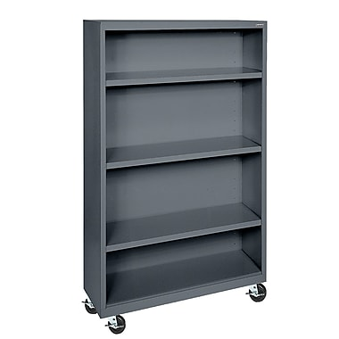 Sandusky® Elite 36in. x 18in. x 58in. Welded Mobile Bookcase, Charcoal