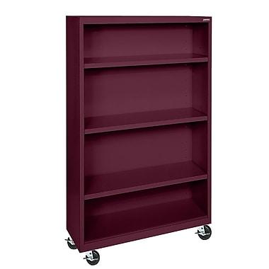 Sandusky® Elite 36in. x 18in. x 58in. Welded Mobile Bookcase, Burgundy