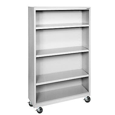 Sandusky® Elite 36in. x 18in. x 58in. Welded Mobile Bookcase, Dove Gray