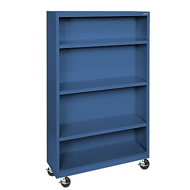 Sandusky® Elite 36in. x 18in. x 58in. Welded Mobile Bookcase, Blue