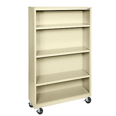 Sandusky® Elite 36in. x 18in. x 58in. Welded Mobile Bookcase, Putty
