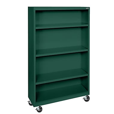 Sandusky® Elite 36in. x 18in. x 58in. Welded Mobile Bookcase, Forest Green