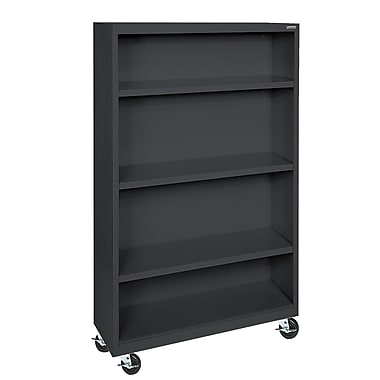 Sandusky® Elite 36in. x 18in. x 58in. Welded Mobile Bookcase, Black