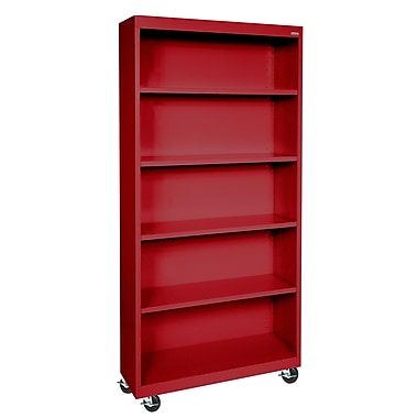 Sandusky® Elite 36in. x 18in. x 78in. Radius Edge Mobile Bookcase, Red