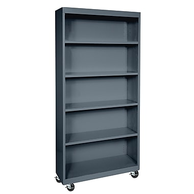 Sandusky® Elite 36in. x 18in. x 78in. Radius Edge Mobile Bookcase, Charcoal
