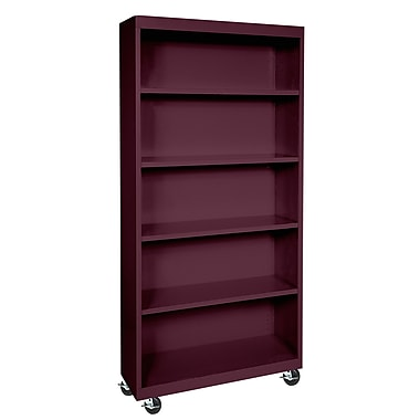 Sandusky® Elite 36in. x 18in. x 78in. Welded Mobile Bookcase, Burgundy