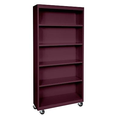 Sandusky® Elite 36in. x 18in. x 78in. Welded Mobile Bookcase, Burgundy