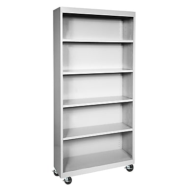 Sandusky® Elite 36in. x 18in. x 78in. Welded Mobile Bookcase, Dove Gray