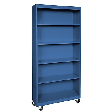 Sandusky® Elite 36in. x 18in. x 78in. Radius Edge Mobile Bookcase, Blue