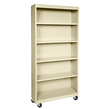 Sandusky® Elite 36in. x 18in. x 78in. Radius Edge Mobile Bookcase, Putty