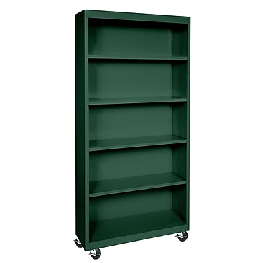 Sandusky® Elite 36in. x 18in. x 78in. Radius Edge Mobile Bookcase, Forest Green