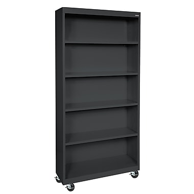 Sandusky® Elite 36in. x 18in. x 78in. Welded Mobile Bookcase, Black