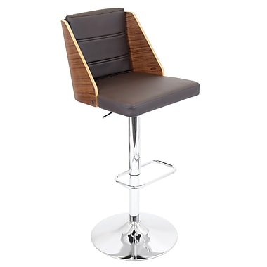 LumiSource® Galanti Leatherette Barstool, Walnut/Black
