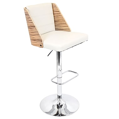 LumiSource® Galanti Leatherette Barstool, Zebra/Cream