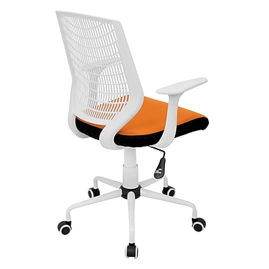LumiSource Network Mid-Back Fabric Conference Chair, Fixed Arms, White/Orange