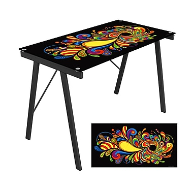 LumiSource® Tempered Glass Psychedelic Exponent Desk, Artistic Print