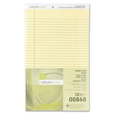 Nature Saver Recycled Canary Legal Ruled Pads, 8-1/2