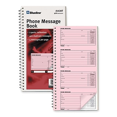 Blueline Telephone Message Book, 100 Sheets