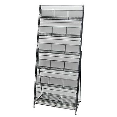 Wide 6 Pocket Mesh Brochure/Magazine Rack, Black