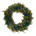 The Christmas Tree Company Plush Peacock 18in. Dried Floral Wreath