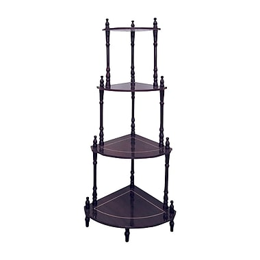 Ore International® 39in. x 18in. x 15in. Composite Wood 4 Tier Corner Stand, Rich Cherry