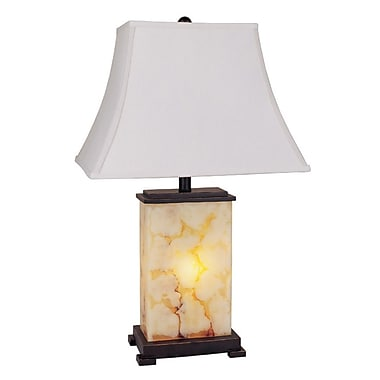 Ore International® 28in. Table Lamp With Night Light, Ivory/Brown/Black