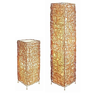 Ore International® Rectangle Rattan Table Lamp Set With Floor Lamp, Tan