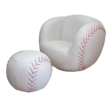 Ore International® Polyester Fiber Baseball Kid's Sports Novlety Chair and Ottoman Set, White/Red