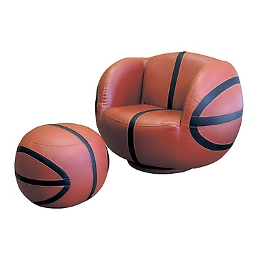 Ore International® Polyester Fiber Basketball Kid's Sports Novlety Chair and Ottoman Set, Black/Brown