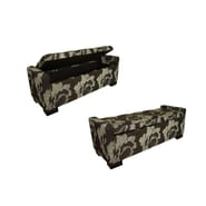 Ore International® Fabric/Metal/Wood Floral Storage Bench, Black