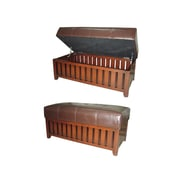 Ore International® Leather/Wood Cushion Storage Bench, Brown