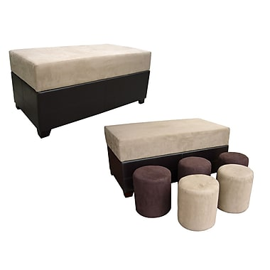 Ore International® Microfiber Storage Bench and Ottoman Set - Bench and 5 Ottomans, Beige/Brown