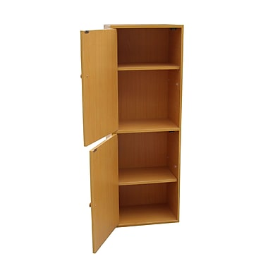 Ore International® 4 Tier Wood Adjustable Bookshelf With Door, Beige