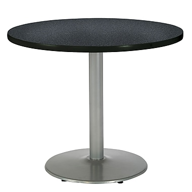 KFI Seating 29in. x 36in. Round HPL Pedestal Table With Silver Base, Graphite Nebula
