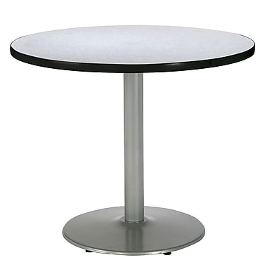 KFI Seating 29in. x 36in. Round HPL Pedestal Table With Silver Base, Gray Nebula