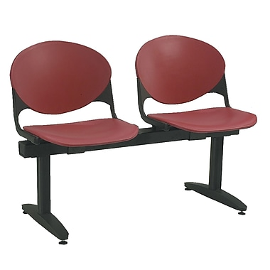 KFI Seating Polypropylene 2 Seat Beam Seating Chair, Burgundy