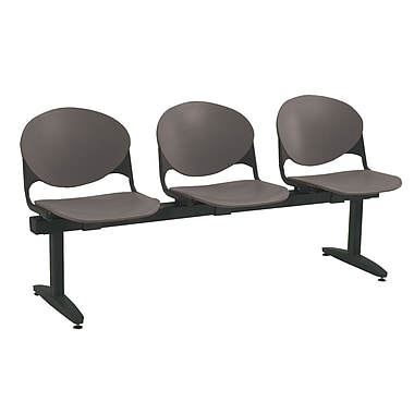 KFI Seating Polypropylene 3 Seat Beam Seating Chair, Charcoal