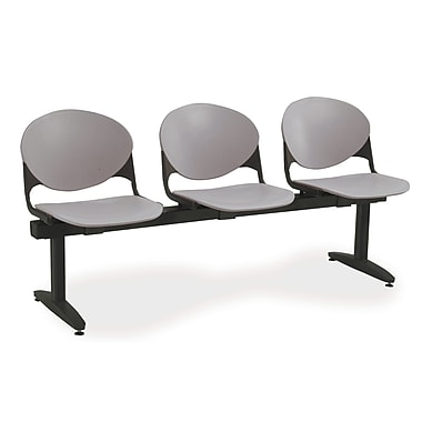 KFI Seating Polypropylene 3 Seat Beam Seating Chair, Gray