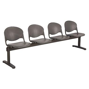 KFI Seating Polypropylene 4 Seat Beam Seating Chair, Charcoal