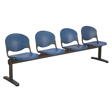 KFI Seating Polypropylene 4 Seat Beam Seating Chair, Navy Blue