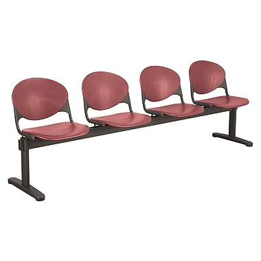 KFI Seating Polypropylene 4 Seat Beam Seating Chair, Burgundy