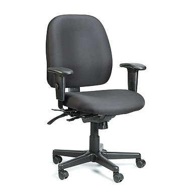 Eurotech Seating 49802ABLK Fabric Mid-Back Task Chair with Adjustable Arms, Black