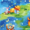 Disney Pooh, Starry Night Scenic, 43/44in. W