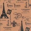 Printed Burlap, Paris Eiffel Tower, 47/48in. Wide