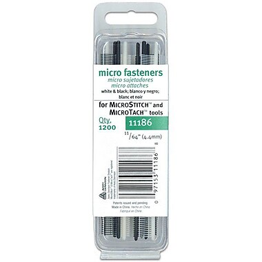 Micro Stitch Fastener Refills, 4.4mm, White/Black, 11/64