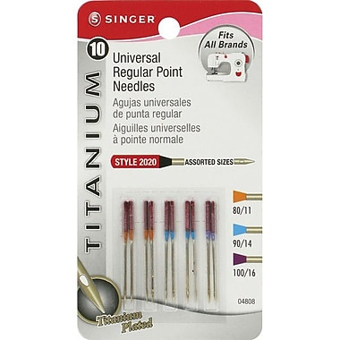 Singer Universal Regular Point Needles, Assorted Sizes, 10/Pack