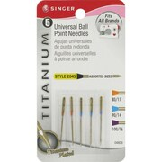 Singer Universal & Ball Point Machine Needles, Assorted Sizes, 5/Pack